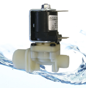 Direct acting valve for hot water