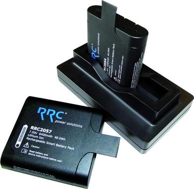 Standard Li-Ion battery pack RRC2057 and the RRC2054 in the RRC-SMB-UBC battery charger