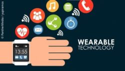 Image: Graphic of a hand wearing a smartwatch. Various icons for health or data transfer can be seen in the background; Copyright: PantherMedia / yupiramos