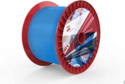 Image: Blue laser fibers on a red roll; Copyright: OFS
