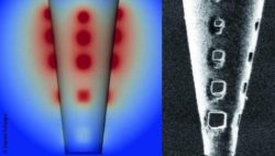 Image: Model (left) and high resolution image (right) of the nanoengineered micropipette with holes to distribute electrical current; Copyright: Daniel Schwarz