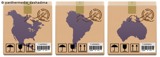 Photo: Packages with symbols from America and Australia