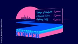 Image: abstract representation of a street in neon colours on which the words graphene oxide, silicon dioxide and copper can be read; Copyright: Lion_on_Helium/MIPT Press Office