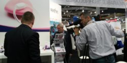 Photo: Video shooting at a booth at MEDICA; Copyright: beta-web/Günther