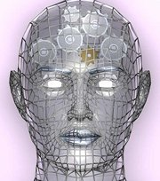 Photo: Futuristic head with cogs in the brain