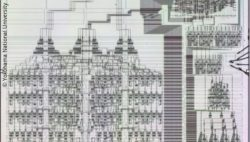 Image: Photo of the microprocessor, consisting of many fine lines, somewhat reminiscent of a drawn house; Copyright: Yokohama National University