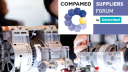 Image: Motors at COMPAMED with logo of COMPAMED SUPPLIERS FORUM; Copyright: Messe Düsseldorf