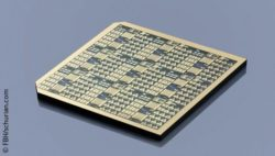 Image: Gallium oxide chip with lateral transistor and measurement structures; Copyright: FBH/schurian.com