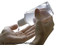 Photo: Gel is poured onto a hand