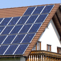 Photo: A roof with a solar power system
