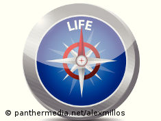 "Graphic: Compass with a needle pointing on the word ""life"""