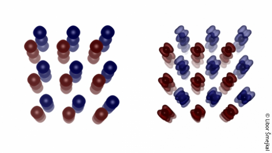 Image: conventional and unconventional antiferromagnets looking like balloons and dumbbells; Copyright: Libor Šmejkal