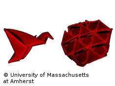 Photo: Two red self-folding 3-D structures