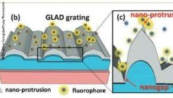 Image: A graphic that shows the construction of a GLAD grating. On the right side is a part of the grating enlarged. Copyright: Shubhra Gangopadhyay/Nanoscale