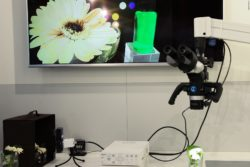 Image: Exhibition table with micro camera systems; Copyright: beta-web/Klein