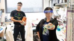 Image: a woman and a man wearing face shields and holding differents items in their hands; Copyright: Susan McClellen, University of Iowa Health Care