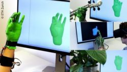 Image: Hand in a green glove and as a simulation on the computer monitor; Copyright:  ETH Zurich