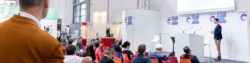 Image: Speaker and audience at the COMPAMED SUPPLIERS FORUM by DeviceMed; Copyright: Messe Düsseldorf