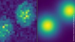 Image: Two images in comparison. On the left, two very pixelated yellow dots on a blue background. On the right the same blue background with clearly outlined ye; Copyright: Berkeley Lab and Columbia